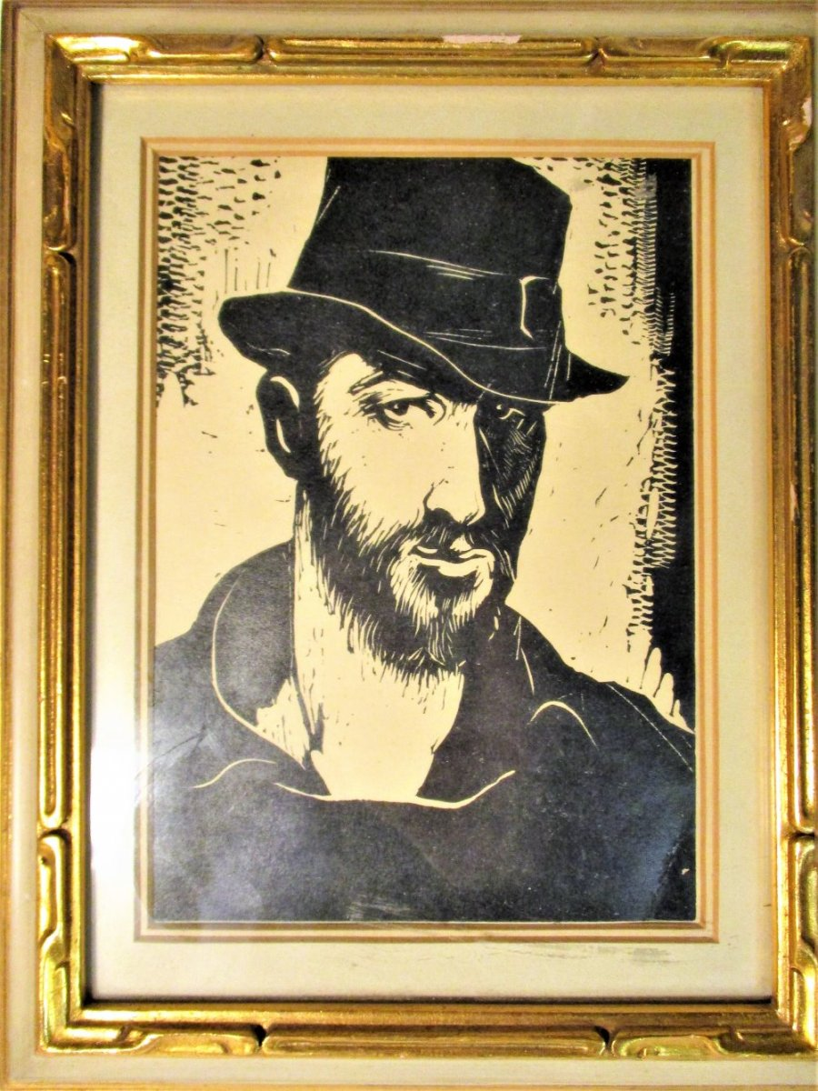 Woodcut: Bentley Self Portrait