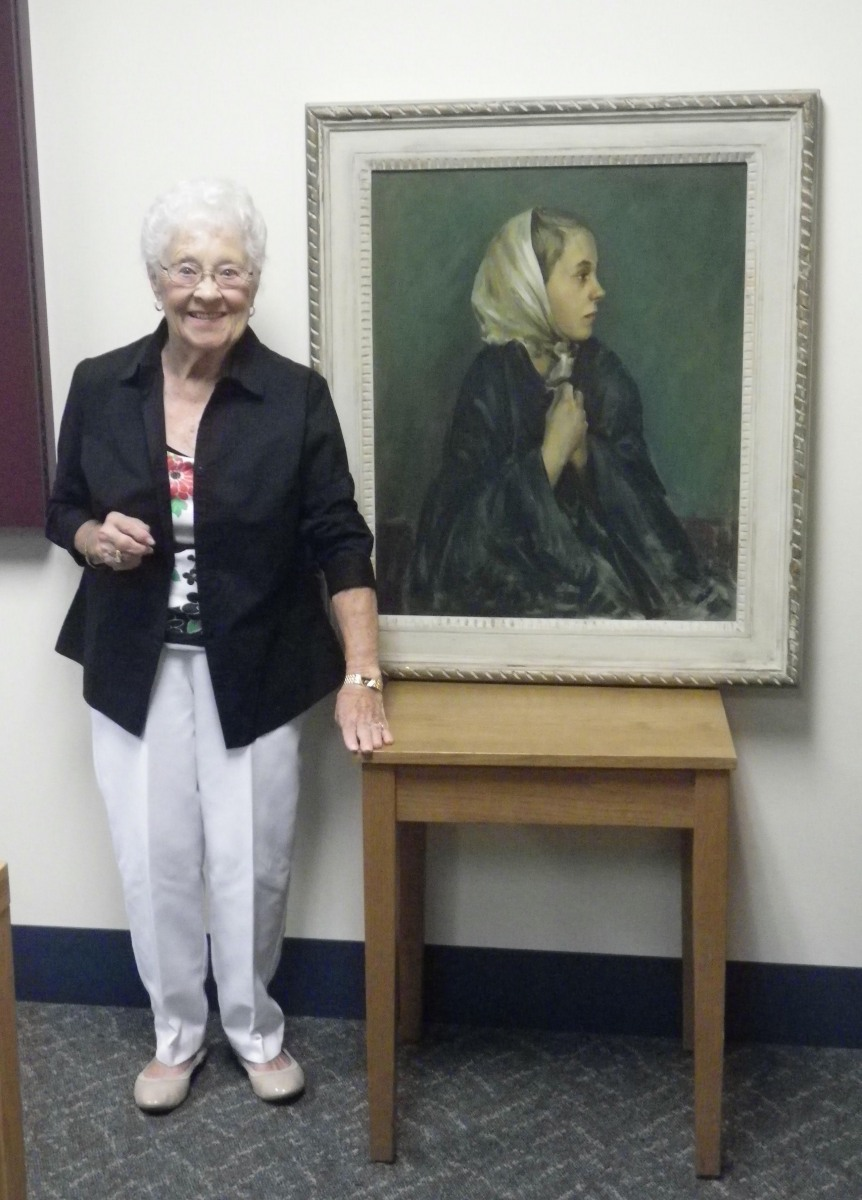 Marilyn Peterson with her portrait