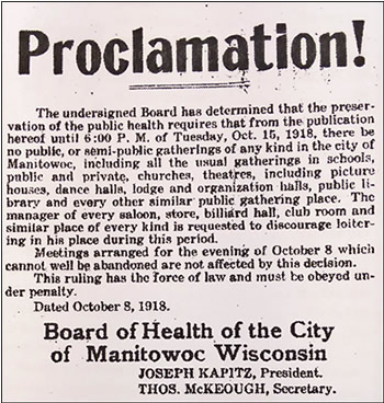 City Health Board closes Manitowoc in 1918 due to health concerns.