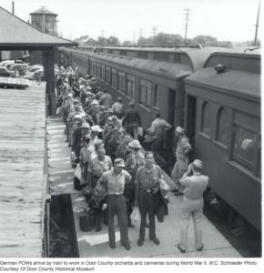 POWs arrive by train
